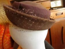 True Vtg 50s PEPITA WEST GERMANY CHECKERED WOOL Pillbox Hat 21