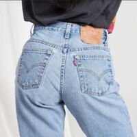 VTG 90's Levi's 550 Relaxed Tapered High Rise Mom Jeans Light Wash 8