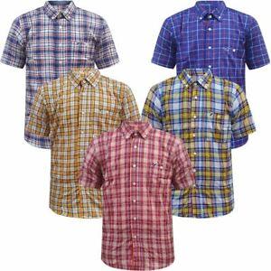 Mens Kangol Short Sleeve Check Shirt Cotton Summer Casual Work Casual Tops New