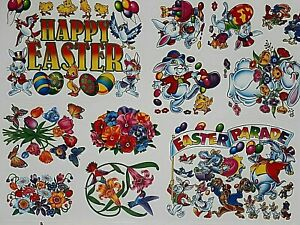 Easter Window Cling Decoration Bunnies Rabbits Easter Eggs Decor 1 Sheet