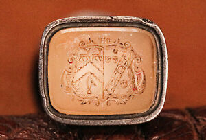 Stunning Armorial Coat of Arms Carved Agate Antique Wax Desk Seal