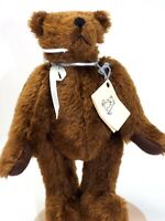 "German Brown Bear Mohair Bear Wool Felt Pads 10"" Blue Ribbon OOAK Artist unknown"