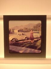 Vintage 1960s Woman Cars VW Volkswagen Automobiles Beetle Photograph Color Slide