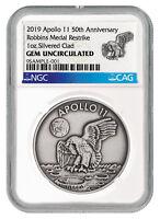 2019 Apollo 11 Robbins Medal 1 oz Silver-plated Antiqued NGC Gem Unc SKU55125