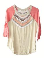 Free People Size S Spring Bound Linen Blend Crochet Yoke Boho Raglan Top