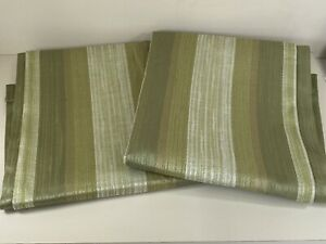 """Vintage Green Striped Curtains Sateen Sheen Thermal Backing 46"""" Width x 54"""" Drop"""