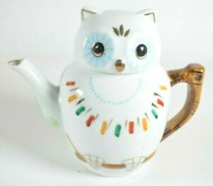 """Vintage Owl Teapot Porcelain Hand Painted Chinese Pot Pitcher 5"""" high"""
