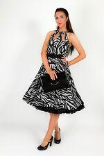 vintage black grey zebra print swing dress rockabilly retro pinup wedding/races