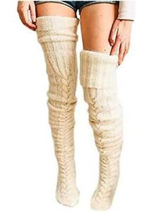 Women Cable Knit Extra Long Boot Socks Over Knee Thigh, Beige-1, Size One Size