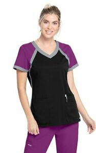 """Grey's Anatomy #41435 V-Neck Color black Scrub Top in """"BBIM"""" Size XS"""