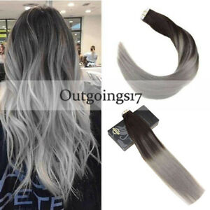 Ombre Black to Silver Grey 7A Tape in Skin Weft Real Remy Human Hair Extensions