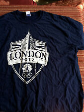 2012 London Olympic NBC Cotton Tee Shirt Navy Blue Short Sleeve Sz 2XL TShirt XX