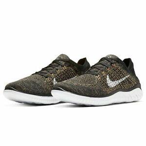 Nike FREE RN FLYKNIT 2018 Running Shoes Black White Gold 942838-005 Men's size 9