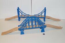 Wooden Train Railway Lot of Blue Bridge x2 Ascending Track works w/ Thomas, Brio