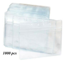 Fushing 1000Pcs Clear Plastic Horizontal Name Tag Badge ID Card Holders