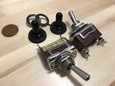 """2x waterproof boot On/Off SPST Metal Toggle Switch AC 15A dc 12v 1/2"""" hole c18"""