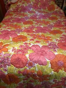 "Vintage 1970s Pink Orange Yellow Floral Bedspread  Retro Groovy 96"" W x 110"" L"