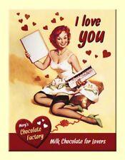 MAGNET 14261 - I LOVE YOU CHOCOLATE - PIN UP GIRL - 8 x 6 cm - NEU