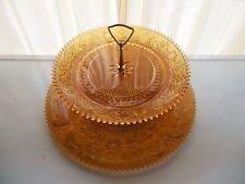 """Tiara Indiana Glass Amber Sandwich 2 Tier Tidbit 16"""" Torte Plate & 12"""" Platter"""