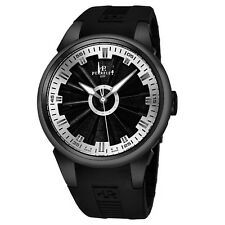 Perrelet Men's Turbine Black/Silver Dial Rubber Strap Automatic Watch A1047/9