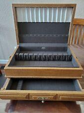 New listing Vintage Kenized Silverware Flatware 2 Drawer Oak Wooden Box Storage Chest Only