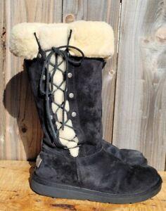 UGG AUSTRALIA UPSIDE 5163 BLACK SUEDE LEATHER SHEEPSKIN BOOTS WOMEN'S sz 9
