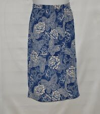 Linea by Louis Dell'Olio Faux Wrap Printed Midi Skirt Size 1X Navy/Alabaster