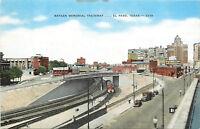 Vintage Linen Postcard B856 Bataan Memorial Trainway El Paso Texas Railroad Cars