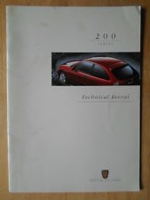 ROVER 200 Saloons orig 1996 UK Mkt Technical brochure - RCL 0098ENG