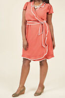 Modcloth Daytime Dapper Retro Wrap Dress Carnation Coral Crepe Size 1x