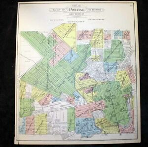 City of Pontiac & Environs sec 29 or sec 31 Plat Map Michigan 1908 Dawson Pond