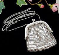 Vintage Style Silver Tone Mesh Coin Purse Bag Necklace