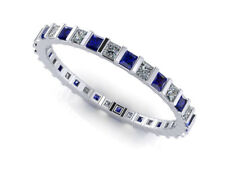 1.50Ct Princess Sapphire Diamond Bar Set Eternity Band Ring Platinum AAA G SI1
