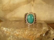 "Sterling Silver ""Sleeping Beauty"" Turquoise Statement Ring, Size 9"
