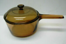 Visions Ware Corning Amber Cook Ware Glass Pot Sauce Pan & Lid 2.5L Only 2.5 Usa