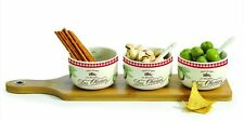 EasyLife Dipping Set With 3 Olive Design Bowls On Bamboo Tray