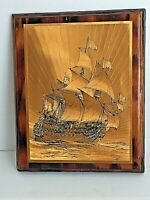 """Vintage Nautical Clipper Ship Foil Art Mounted Wood Wall Hanging 10"""" x 8"""" Glossy"""