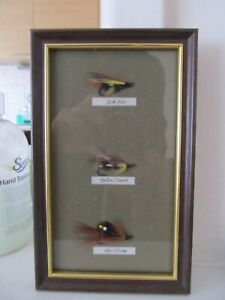 SMALL, PICTURE, FRAMED FISHING FLY'S, JOCK SCOT, YELLOW TORRISH AND RED SHRIMP.