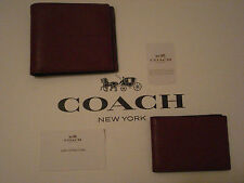 COACH COMPACT SPORT CROSSGRAIN LEATHER SPORT ID WALLET IN BLACK CHERRY - F74974