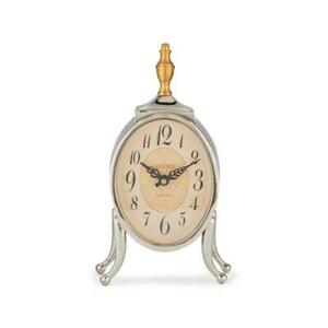 Ophelia Table Desk Mantel Clock - Polished Aluminum - Brass Finial