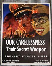 ORIGINAL 1943 WORLD WAR 2 ERA OUR CARELESSNESS THEIR SECRET WEAPON POSTER MINT