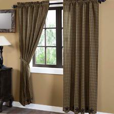 "BLACK STAR Scalloped Panel Set Curtains Rustic Khaki Applique Primitive 84"""