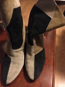 Isabel Marant Etoile Suede Mid-calf Slip On Block Heel Brown Black Boots,
