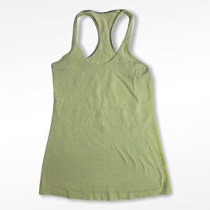 Lululemon Size 2 Yellow Grey Striped Cool Racerback Womens Workout Activewear