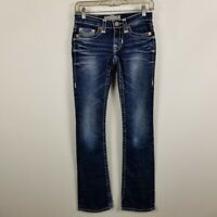 Big Star LIV Slim Boot Cut Womens Dark Wash Distress Blue Jeans Size 24x32