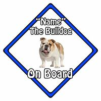 Personalised Dog On Board Car Safety Sign - Bulldog On Board Blue