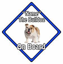 Personalised Dog On Board Car Safety Sign - Bulldog On Board Blue
