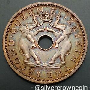 Rhodesia & Nyasaland Zambia Malawi 1 Penny 1962. KM#2. One Cent coin. Elephants.