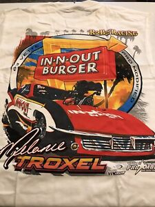 """NHRA DRAG RACING """"IN-N-OUT BURGER"""" PRO MOD MELANIE TROXEL  SHIRT wht  SIZE LARGE"""