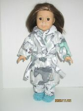 """Horse Pajama/Fleece Robe/Slippers Set 18"""" Doll Clothes American Girl"""